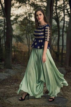 Beautiful pista green color lehenga and royal blue color peplum top. Top with hand embroidery thread work. Meenakshi collection of mrunalini Rao . Choli Designs, Lehenga Designs, Blouse Designs, Salwar Designs, Pakistani Dresses, Indian Dresses, Indian Outfits, Churidar, Patiala