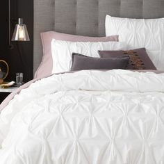 Organic Cotton Pintuck Duvet Cover + Shams - White | West Elm (simple and clean, add pops of color with quilt, sheets and throw pillows)