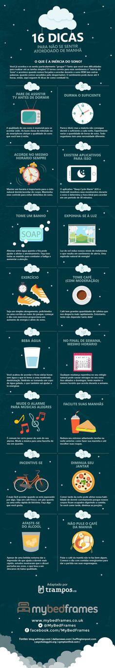 Uma boa noite de sono pode garantir que você seja uma pessoa divertida e produtiva durante o dia. Este infográfico traz dicas para um despertar mais agrad