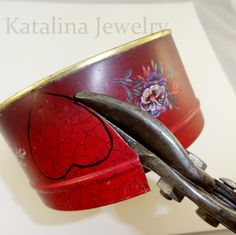 Tin Heart - use tin snips to cut a heart shape from a red tin can - katalinajewelry