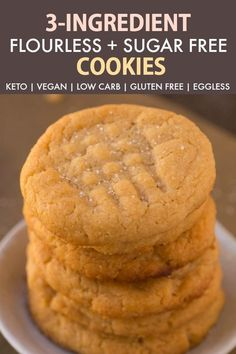 KETO cookies: The BEST Easy 3 ingredient flourless sugar free peanut butter cookies recipe made with NO eggs, keto, vegan and ready in 12 minutes- Almond butter option too! Keto Cookies, Sugar Free Peanut Butter Cookies, Flourless Peanut Butter Cookies, Peanut Butter Cookie Recipe, Sugarless Cookies, Flourless Desserts, Coconut Flour Cookies, Sugar Free Brownies, Sugar Free Cheesecake