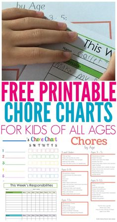 Printable Chore Chart for Kids of all ages  chor…