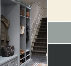 This is a nicely balanced combo of slate colours with a soft, warm (Ben Moore CC 130, Ivory White) rather than the usual pairing of cool white and slate grey ( Ben Moore, HC 164, 'Puritan grey')