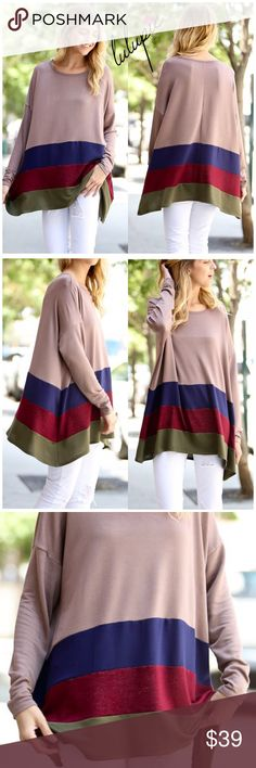 "🆕 Mocha Striped Tunic Top Super soft mocha striped tunic top. Perfect for layering or wearing alone. Made of Rayon/ Poly/ Spandex Blend. These are oversized tops. They run big. Tags say small but tagged them as S/M and so on. MADE IN USA 🇺🇸   S/M pit to pit 24""/ length 29"" M/L pit to pit 25""/ length 29.5"" L/XL pit to pit 26""/ length 30""  NO TRADES Bchic Tops Tunics"