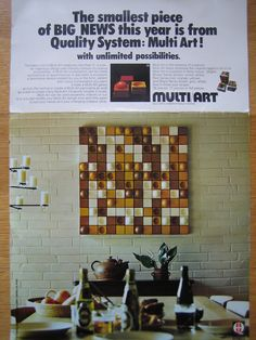 Multi-Art Wall Sculpture Blocks (Brown/Tan/White) by Flemming Hvidt for Quality-System DK c1973