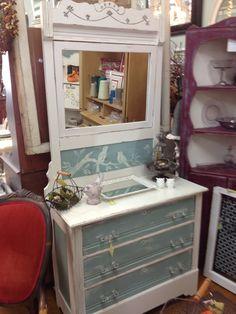 Annie Sloan Duck Egg Blue and white dresser
