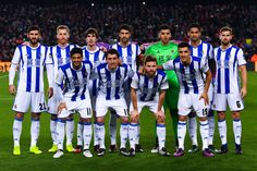 Real Sociedad players pose for a team picture prior to kick-off during the Copa del Rey quarter-final second leg match between FC Barcelona and Real Sociedad at Camp Nou on January 26, 2017 in Barcelona, Catalonia.