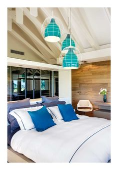 Beautiful turquoise lamps in metal cocoons --- http://9design.pl/product-pol-4891-Foscarini-i-Diesel-Lampa-sufitowa-Cage-mala.html. A ranch in the Santa Monica Mountains via http://www.planete-deco.fr/