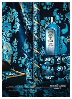 """""""Allure"""" - Emma Gardner (Bombay Sapphire Inspired) We loved this project for Bombay Sapphire. The rug designed for this campaign ended up as fabric covering a banquette at the Barcelona airport and lining the Bombay Sapphire exhibit at Salon Del Mobile in Milan"""