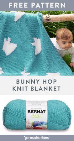 Free Bunny Hop Blanket knit pattern using Bernat Satin and Bernat Pipsqueak yarns. Knitted Cushions, Knitted Afghans, Knitted Baby Blankets, Knitted Blankets, Baby Knitting Patterns, Baby Patterns, Free Knitting, Blanket Patterns, Bunny Blanket