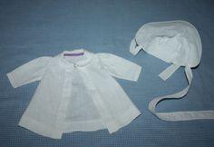 White Pique Coat and Bonnet for Composition Dolls 1940s