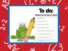 Fabulous 4th Grade Froggies: To do (before the first day of school) linky