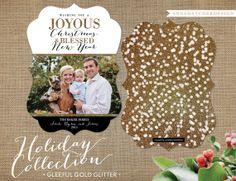 Christmas Card / Holiday Cards / Gleeful Gold Glitter / Confetti Gold Glitter / Wishing you a Joyous Christmas and Blessed New Year