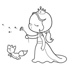 Malvorlage: Prinzessin mit Pusteblume