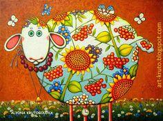 Sheep with a watch Alyona Krutogolova pieces) Art And Illustration, Illustrations, Sketch Manga, Wal Art, Sheep Art, Naive Art, Whimsical Art, Art Plastique, Stone Painting