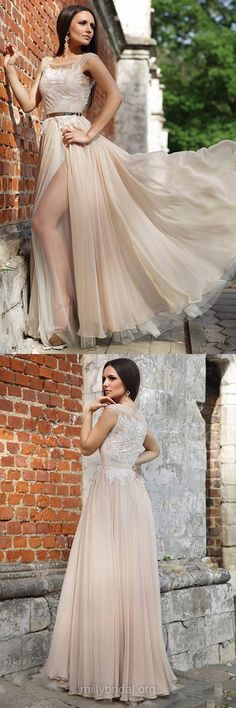 Modern Prom Dresses Lace,Long Formal Dresses A-line,Scoop Neck Party Dresses Chiffon,Tulle Evening Gowns Elegant