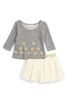 Baby Sara Crystal Embellished Top & Tulle Skirt Set (Baby Girls) available at #Nordstrom