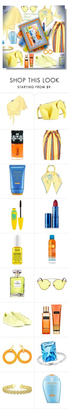 """Saint-Tropez - Travel Outfits!"" by sarahguo ❤ liked on Polyvore featuring Anna October, Loewe, Moschino, Shiseido, Carolina Herrera, Maybelline, Lipstick Queen, Kiehl's, Saint Tropez and Chanel"