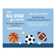 Balls Sports Themed Baby Shower Invitations