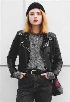 Studded Moto Zip Faux Leather Jacket