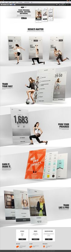 Unique Web Design, Nike Training Club via Layout Design, Site Web Design, Design Sites, Web Layout, Banner Design, Wireframe, Ecommerce, Ui Design Mobile, Design Creation