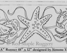 UNDER THE SEA runner rug hooking / punch hooking pattern