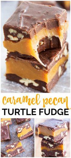 Fudge Caramel, Chocolate Peanut Butter Fudge, Caramel Pecan, Butter Pecan Fudge Recipe, Chocolate Tarts, Cake Chocolate, Toffee, Homemade Fudge, Homemade Candies