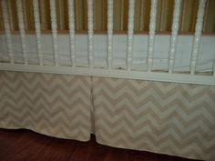 Tan and Ivory Chevron baby crib skirt. Long Options.  Matching valance avble , fits toddlers beds. Nursery decor , Zig zag.  Free Shipping by PrettyThreads22 on Etsy