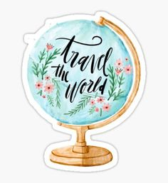 High quality Travel gifts and merchandise. Inspired designs on t-shirts, posters, stickers, home decor, and more by independent artists and designers from around the world. Printable Stickers, Cute Stickers, Planner Stickers, Free Printable, Tumblr Stickers, Travel Drawing, World Globes, Travel Illustration, Aesthetic Stickers
