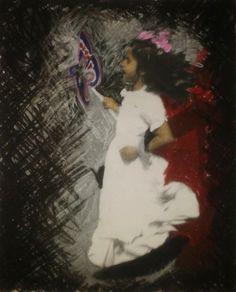 Retrato en impresión blanco y negro con colores de cera