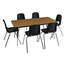 "ECR4Kids ELR14107P4X16-GGNSB Rect. 24""x48"" Table GGN-SB & 4-16""GN Chairs NEW"
