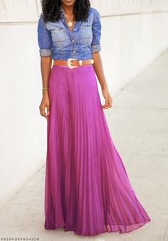 Long Pink skirt/ blue jeans top & belt. Love this for Spring.
