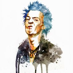 Sid Vicious Watercolor by Marian Voicu