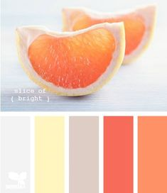 Bright, bold citrus hues are balanced with soft yellow and muted colors