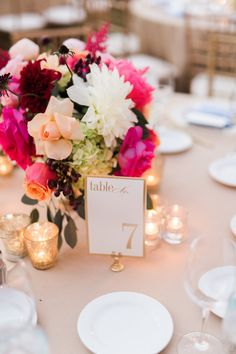 Chic centerpiece and table number