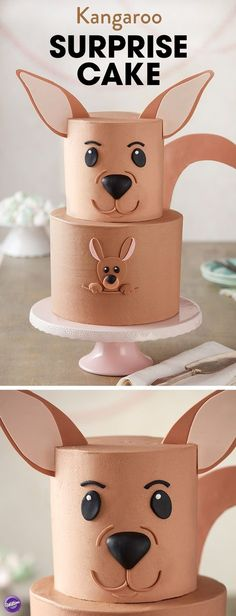 This adorable Kangaroo Surprise Cake is ready for a hoppin' good time! A great cake for Mother's Day or a baby shower, this two-tier cake features a little joey popping out of mom's pouch to say hello. Best of all, decorating is a breeze with this cake. Simply ice your cake smooth and then use fondant and gum paste to create all the cake decorations. A cute cake any mom or mom-to-be is sure to love, this Kangaroo Surprise Cake is sure to be a hit at any occasion.