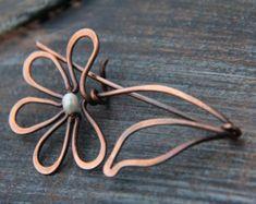 Shawl pin scarf pin sweater pin copper and czech by Keepandcherish