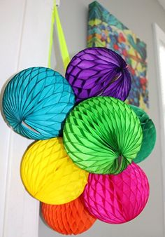 Amazon.com: 10 Pack Assorted Color 8 Inch Honeycomb Tissue Paper Party Balls (Rainbow).  Made in the USA by Devra Party.