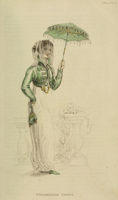 July 1811 promenade dress. I like that her accessories are all the same color!