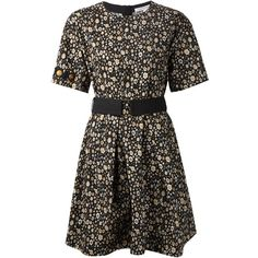 Marc Jacobs Beaded Sleeve Floral Dress (1 055 AUD) ❤ liked on Polyvore featuring dresses, black, flower print dress, round neck dress, floral sleeve dress, beaded dresses and short dresses
