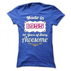 Made in 1955 - 60 Years of Being Awesome Birth years Ts - #tee verpackung #sweatshirt cutting. LIMITED TIME PRICE => https://www.sunfrog.com/Birth-Years/Made-in-1955--60-Years-of-Being-Awesome-Birth-years-Tshirt-and-Hoodie-9076-RoyalBlue-26378401-Ladies.html?68278