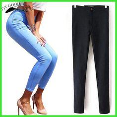 Women sexy slim hip slim high waist elastic skinny jeans pants women high  street summer pencil jeans new 2013 denim pants c7d7d9586056