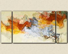"Abstract expressionism canvas print, 30x60 to 40x78 gallery wrap triptych in orange, red and white, ""Arabesques"""