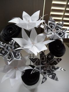 Whimsical Black & White Origami Paper Flowers Bouquet  - Photo only