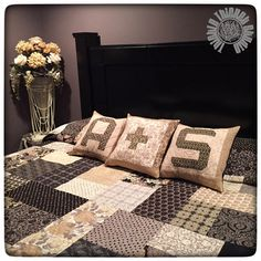 thistlethicketstudio.com. Pillow idea. | Spell It With Moda Fabric! Monogram Pillow Tutorial by Thistle Thicket Studio