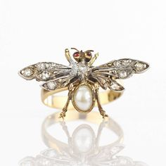 Georgian Ring - Antique Insect Conversion Ring 18k Gold Ruby Diamond Pearl, Antique Ring, Antique Jewelry Bug Ring Antique Jewelry Statement by HeartofHeartsJewels on Etsy