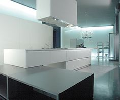 Zone, minimal modular kitchen system by Boffi options for central island if hotplates are placed in cntral island