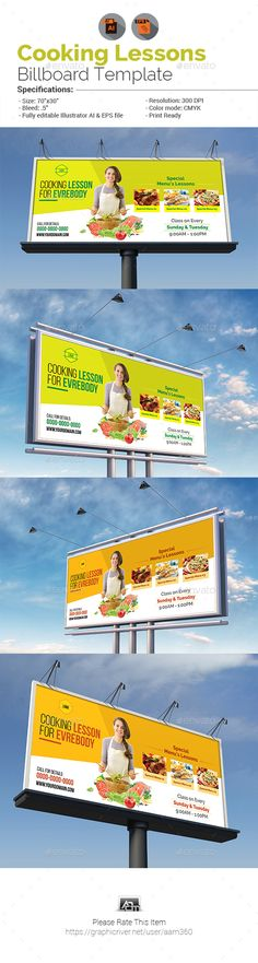 Cooking Lessons Billboard Template — Vector EPS #lesson #learn • Download ➝ https://graphicriver.net/item/cooking-lessons-billboard-template/19991553?ref=pxcr