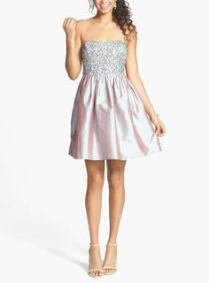 In love with this sparkly embellished bodice strapless taffeta prom dress.
