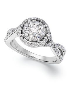 Prestige Unity Twisted Band Diamond Engagement Ring in 14k White Gold (1 ct. t.w.) - Wedding & Engagement Rings - Jewelry & Watches - Macy's